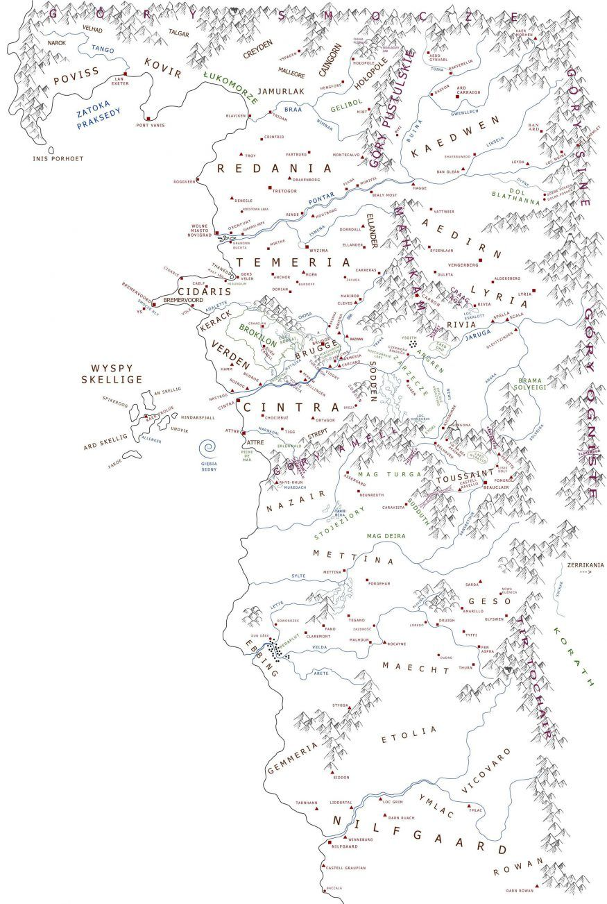 New and accurate map of the world of the Witcher by Adam ... Sapkowski World Map on salem world map, tolkien world map, the witcher world map,