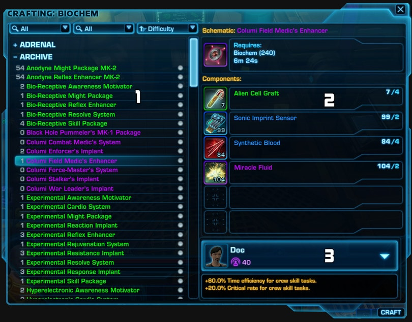 Swtor Crew Skills And Crafting A Beginners Guide Vulkk Com