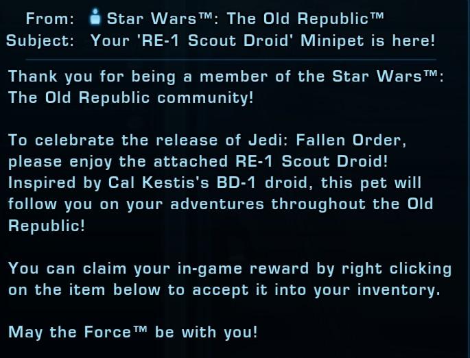 SWTOR players get a FREE Jedi Fallen Order mini pet droid